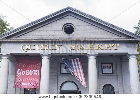 Boston, Massachusetts.  October 30, 2018. The Exterior Front Entrance Of Quincy Market In Boston Mas