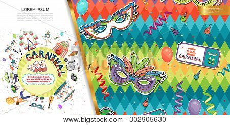 Flat Carnival And Circus Concept With Masquerade Masks Carousels Acrobat Fakir Animals Bicycle Guita