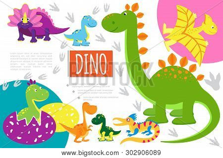 Flat Funny Dinosaurs Composition With Velociraptor T-rex Pterodactyl Brontosaurus Triceratops Stegos