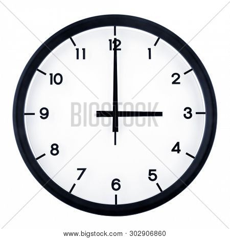 Classic analog clock pointing at 3 o'clock, isolated on white background