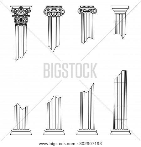 Destroyed Historic Greek Antique Columns With Capitals Of Different Orders And With Place For Text