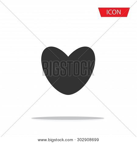 Heart Icon Vector, Valentine's Day Sign Isolated On White Background.
