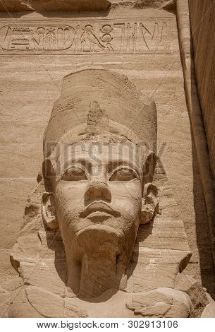 Giant Stone Statues At Temple Of Kom Ombo Near Luxor, Egypt
