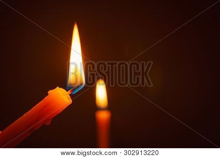 Candle Lit In The Dark, Candle Flame At Night. Lighting Design For Background, Lighting Candles, Bur