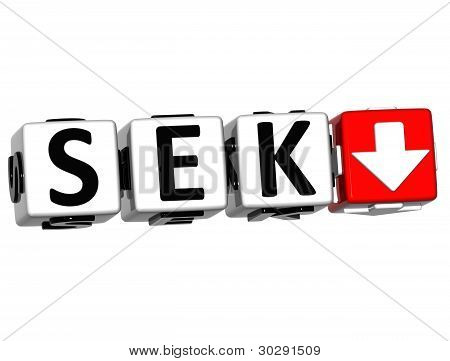 Currency SEK rate concept symbol button on white background poster