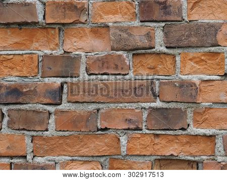 Red Brick Wall Background. Weathered Brick Surface Backdrop