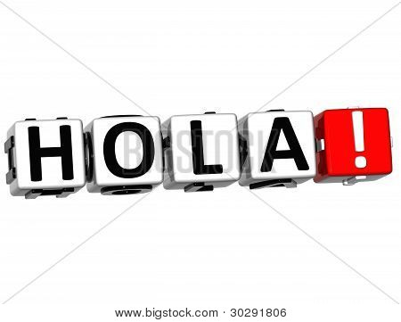 3D Hola block text on white background poster