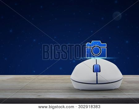 Camera Icon With Wireless Computer Mouse On Wooden Table Over Fantasy Night Sky And Moon, Camera Sho
