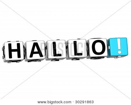 3D Hallo Block Text On White Background