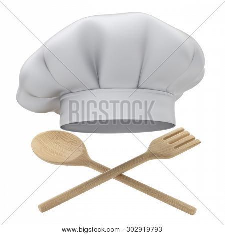 Chef Hat With Wooden Spoon And Fork - 3d Illustration