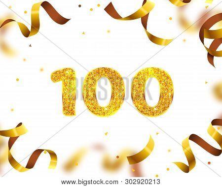 Anniversary Banner 100th, Gold Ribbon Fly. Vector