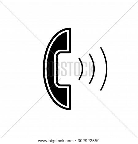 Flat Linear Design. Outgoing Call Icon For Apps, Public Places And Web Sites. Handset And Outgoing S