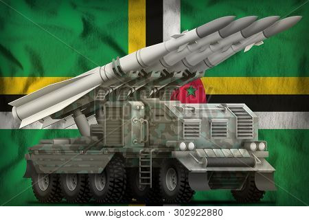 Tactical Short Range Ballistic Missile With Arctic Camouflage On The Dominica Flag Background. 3d Il