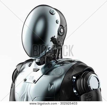3d Rendering Humanoid Robot With Face Mask Isolated On White