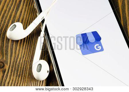 Helsinki, Finland, May 4, 2019: Google My Business Application Icon On Apple Iphone X Screen Close-u