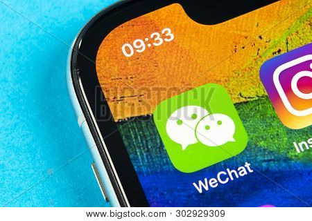 Helsinki, Finland, May 4, 2019: Wechat Messenger Application Icon On Apple Iphone X Smartphone Scree