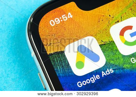Helsinki, Finland, May 4, 2019: Google Ads Adwords Application Icon On Apple Iphone X Screen Close-u
