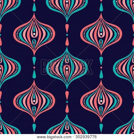 Classic Colorful Handdrawn Ogee Vector Seamless Patternon Dark Blue Background. Retro Blue And Pink