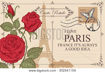 Retro Postcard With Eiffel Tower In Paris, France. Romantic Vector Postcard With Red Roses, Postmark