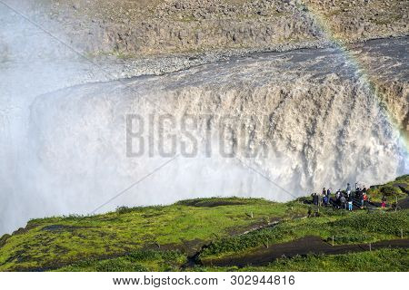 Dettifoss, Iceland - July 23, 2017: Dettifoss Is The Most Powerful Waterfall On Iceland . It Is Loca
