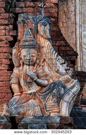 Shwe Indein Pagoda In The Village Of Indein, Near Ywama, Inle Lake, Myanmar Burma