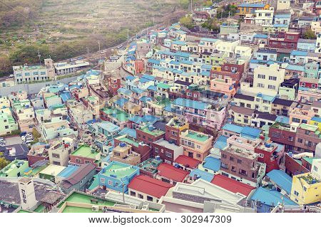 Scenic Landscape Of Gamcheon Culture Village, Colorful And Artistic Tourist Attraction With Brightly