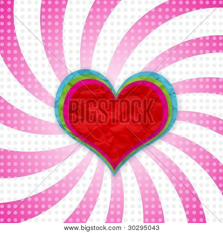 color hearts crushed on ray pink with dot retro background.