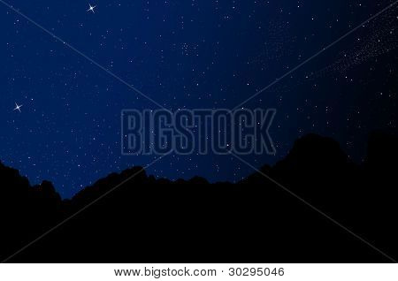 silhouette mountain with night sky background