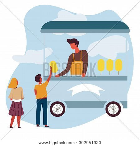 Sweet Cotton Food Truck Vendor Or Seller And Children