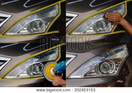 Big Headlight Cleaning With Power Buffer Machine At Service Station ,before And After Cleaning