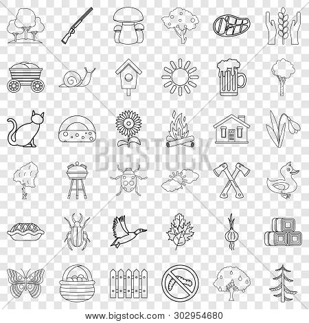 Settlement Icons Set. Outline Style Of 36 Settlement Vector Icons For Web For Any Design