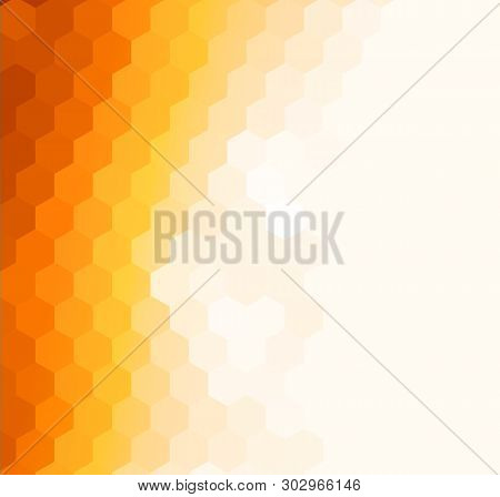 Abstract Orange Sunny Background, Vector Mosaic Design.