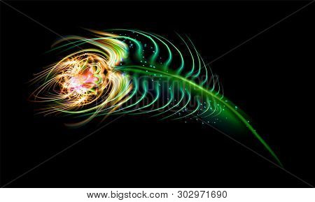Peacock Feather On Black Or Dark Background In Unreal Magic Style. Vector Illustration Eps 10. Neon
