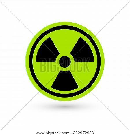 Toxic Green Vector Icon. Radiation Pictogram. Biohazard Warning Symbol. Science Atomic Reactor Tech