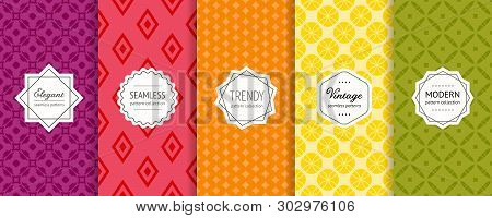poster of Vector geometric seamless pattern collection. Set of bright colorful background swatches with elegant modern labels. Cute abstract textures. Pretty design in green, yellow, orange, red, wine color. Set background. Design background. Geometric texture