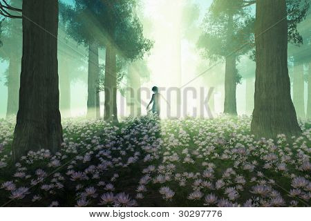 Woman in the morning forest