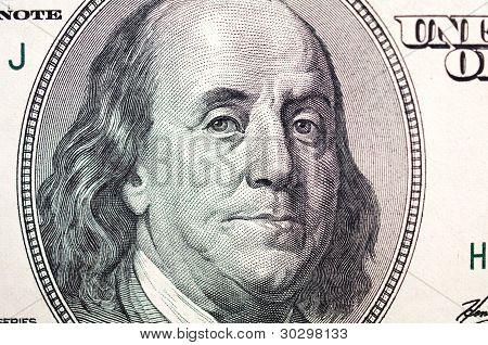 Benjamin Franklin Face On Dollar Bill