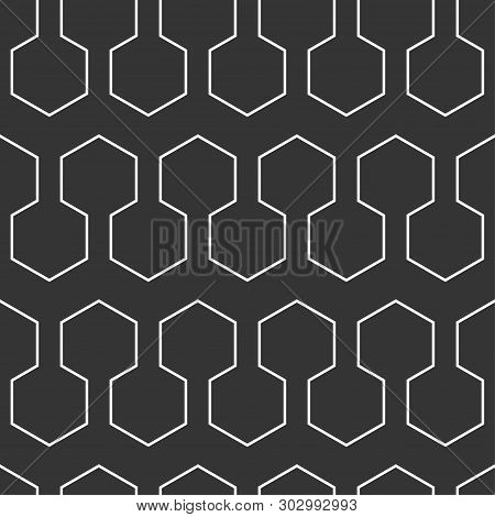 Technological Web Seamless Pattern With Hexagons, Geometric Background With Hexagons, Science Patter