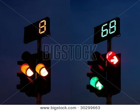 Traffic Light with Silhouette Figure
