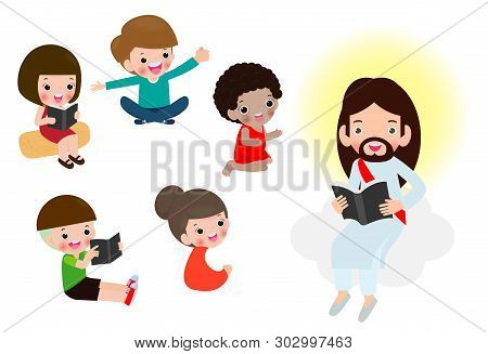 Jesus Reading The Bible With Children.jesus Preaching To A Group Of Kids. Isolated On White Backgrou