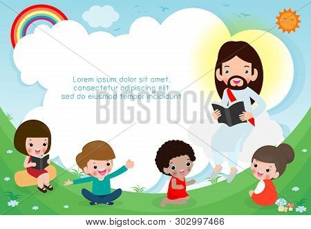 Jesus Christ Reading The Bible With Children.jesus Preaching To A Group Of Kids. Template For Advert