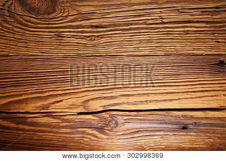 Close Up Of An Illuminated Wooden Wall. Torfhaus, Germany