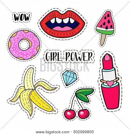 Girl Power Set. Trendy Collection Of Patch Badges