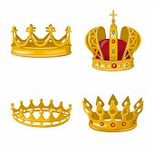 Isolated object of monarchy and gold symbol. Collection of monarchy and heraldic stock symbol for web. poster