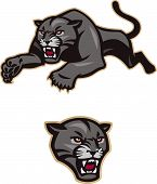 Stylized, leaping black panther for use as team mascot, etc. The head icon is included as a separate element. poster