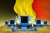 some blue farming combine harvesters on grain field with Belgium flag background - front view, stop starving concept - industrial 3D illustration poster