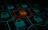 Cyber attack, system under threat, DDoS attack. Camera flies frough HUD blue hexagons and padlocks, but one of them hacked. Cyber security and hacking concept. Vector illustration. poster