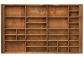 vintage wood  printer  (typesetter) drawer with numerous dividers, isolated on white poster