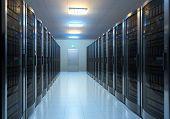 Modern interior of server room in datacenter poster