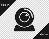 Grey Web camera icon isolated on transparent background. Chat camera. Webcam icon. Vector Illustration poster